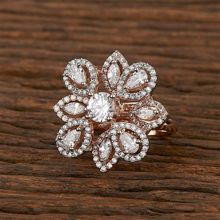 413439 Cz Classic Ring With Rose Gold Plating