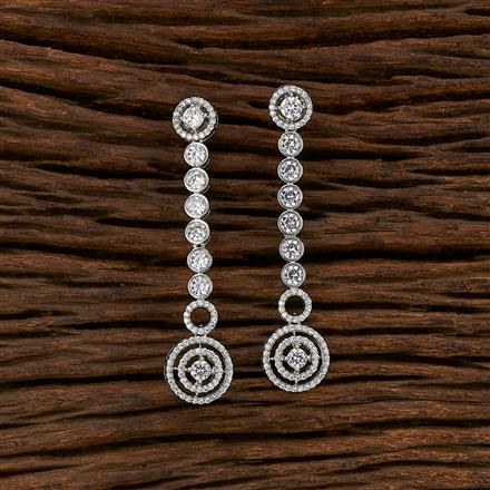 413493 Cz Classic Earring With Rhodium Plating