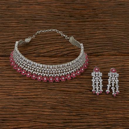413546 Cz Mukut Necklace With Rhodium Plating