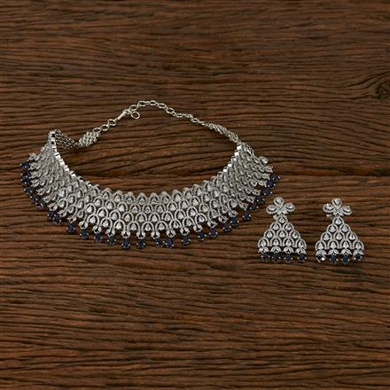413547 Cz Mukut Necklace With Rhodium Plating