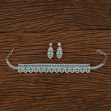 413548 Cz Choker Necklace With Rhodium Plating