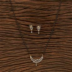 413555 Cz Classic Mangalsutra With 2 Tone Plating