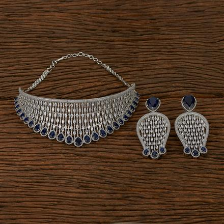 413568 Cz Mukut Necklace With Rhodium Plating
