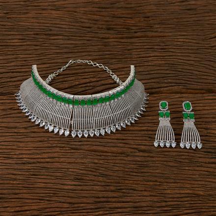 413569 Cz Mukut Necklace With Rhodium Plating