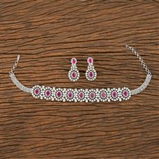 413583 Cz Choker Necklace With Rhodium Plating