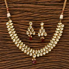 41358 Kundan Classic Necklace with gold plating