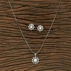 413740 Cz Delicate Pendant Set With Gold Plating