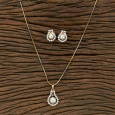 413742 Cz Delicate Pendant Set With 2 Tone Plating
