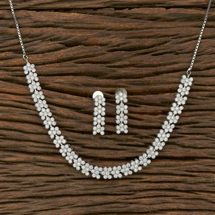 413821 Cz Classic Necklace With Rhodium Plating