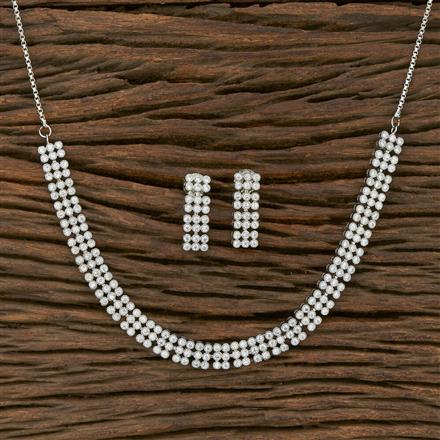 413823 Cz Classic Necklace With Rhodium Plating