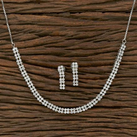413826 Cz Classic Necklace With Rhodium Plating
