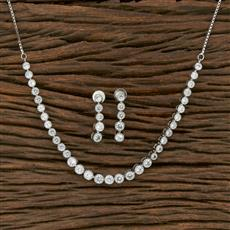 413829 Cz Classic Necklace With Rhodium Plating