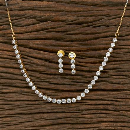 413830 Cz Classic Necklace With 2 Tone Plating