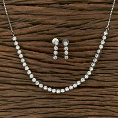 413831 Cz Classic Necklace With Rhodium Plating