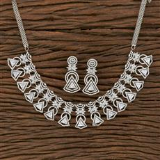413876 Cz Classic Necklace With Rhodium Plating