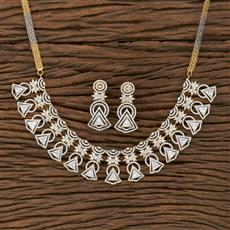 413877 Cz Classic Necklace With 2 Tone Plating
