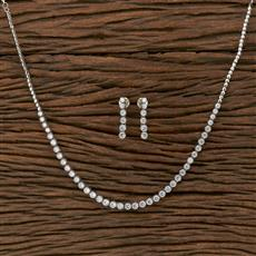 413886 Cz Classic Necklace With Rhodium Plating