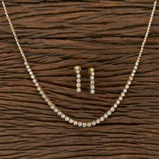413887 Cz Classic Necklace With 2 Tone Plating