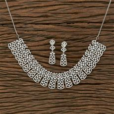 413892 Cz Classic Necklace With Rhodium Plating