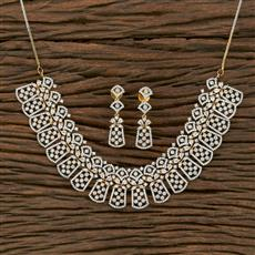 413893 Cz Classic Necklace With 2 Tone Plating