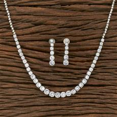 413895 Cz Classic Necklace With Rhodium Plating