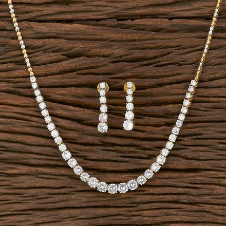 413896 Cz Classic Necklace With 2 Tone Plating