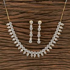413901 Cz Classic Necklace With 2 Tone Plating