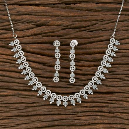 413902 Cz Classic Necklace With Rhodium Plating