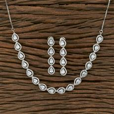 413903 Cz Classic Necklace With Rhodium Plating