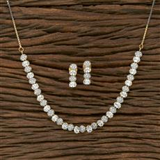 413905 Cz Classic Necklace With 2 Tone Plating