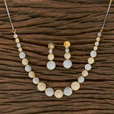 413908 Cz Classic Necklace With 2 Tone Plating
