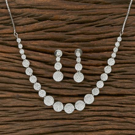 413909 Cz Classic Necklace With Rhodium Plating
