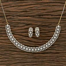 413911 Cz Classic Necklace With 2 Tone Plating