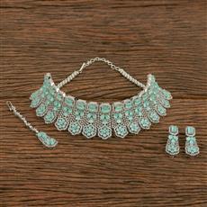 413920 Cz Mukut Necklace With Rhodium Plating