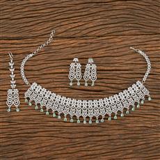 413926 Cz Mukut Necklace With Rhodium Plating