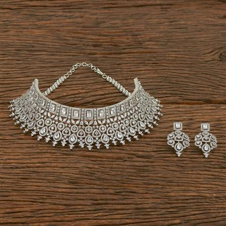 413927 Cz Mukut Necklace With Rhodium Plating