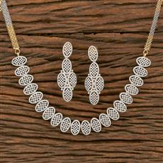 413930 Cz Classic Necklace With 2 Tone Plating