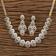 413931 Cz Classic Necklace With 2 Tone Plating