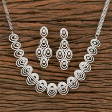 413933 Cz Classic Necklace With Rhodium Plating