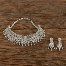 413941 Cz Mukut Necklace With Rhodium Plating