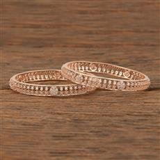 413946 Cz Classic Bangles With Rose Gold Plating