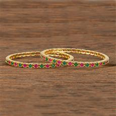 413947 Cz Classic Bangles With Gold Plating