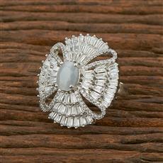 414001 Cz Classic Ring With Rhodium Plating