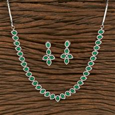 414004 Cz Classic Necklace With Rhodium Plating