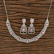 414057 Cz Classic Necklace With Rhodium Plating