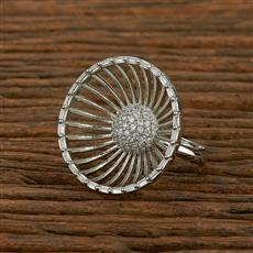 414117 Cz Classic Ring With Rhodium Plating