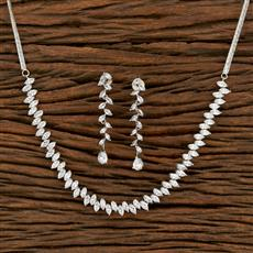 414124 Cz Classic Necklace With Rhodium Plating