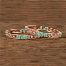 414192 Cz Classic Bangles With Rose Gold Plating