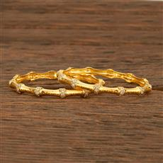 414220 Cz Classic Bangles With Gold Plating
