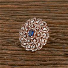 414227 Cz Classic Ring With Rose Gold Plating